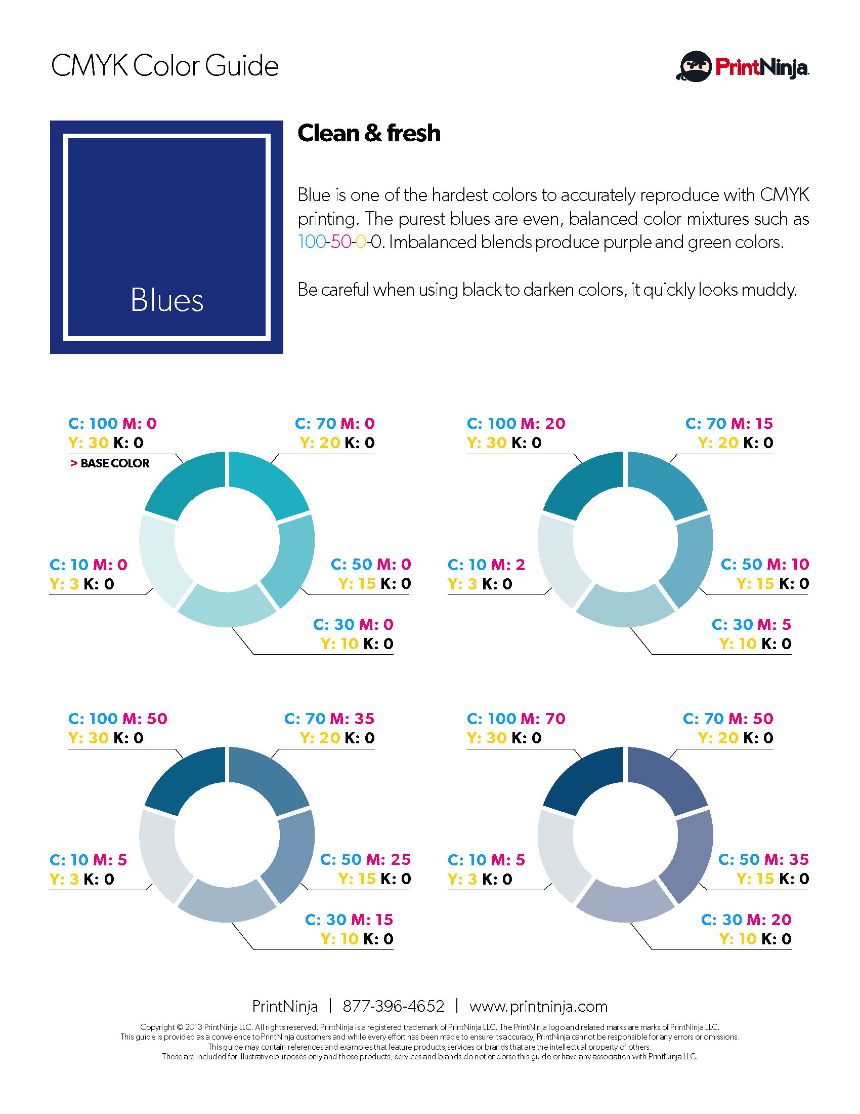 Blue CMYK Suggested Color Ink Values