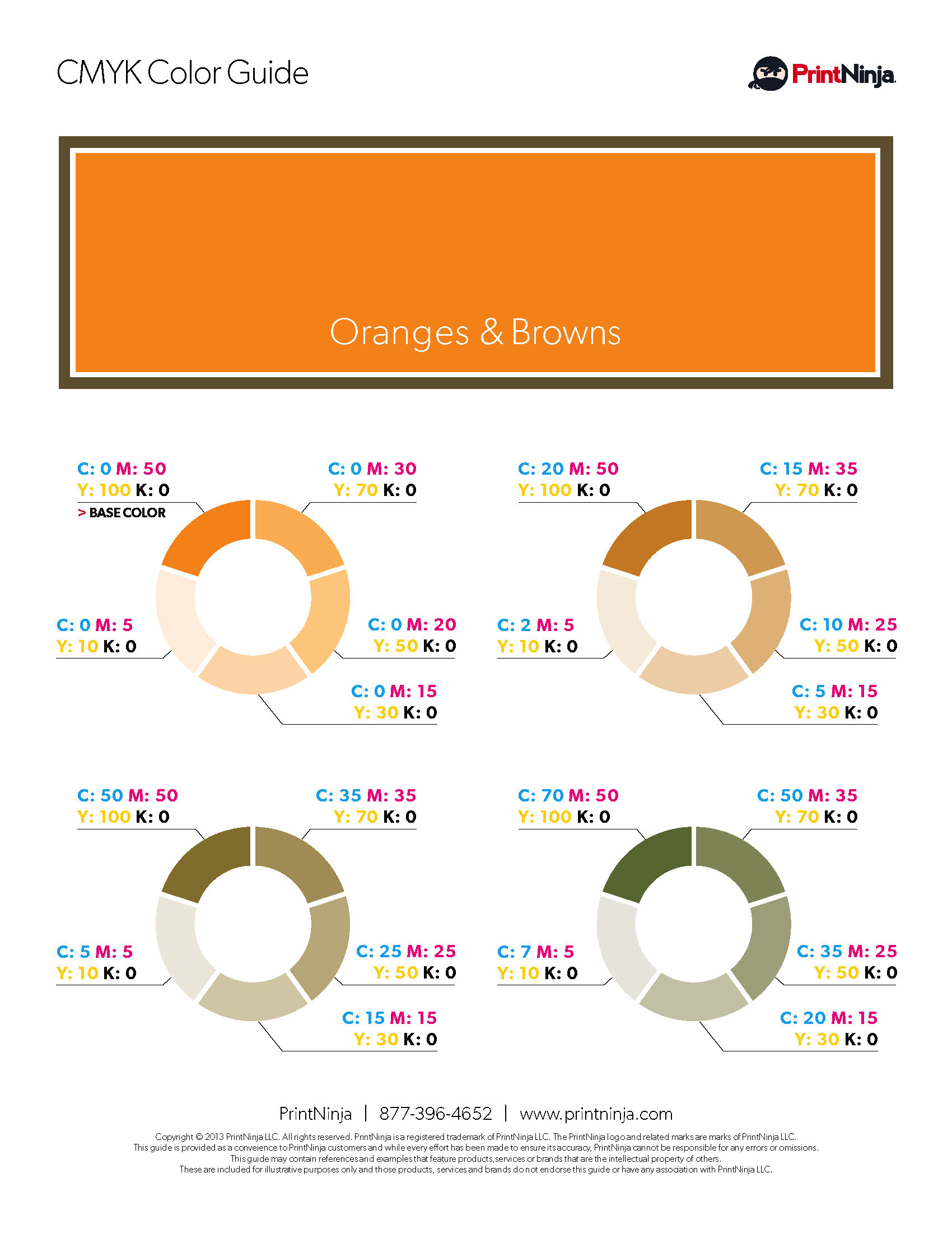 Orange Brown CMYK Suggested Color Ink Values Guide