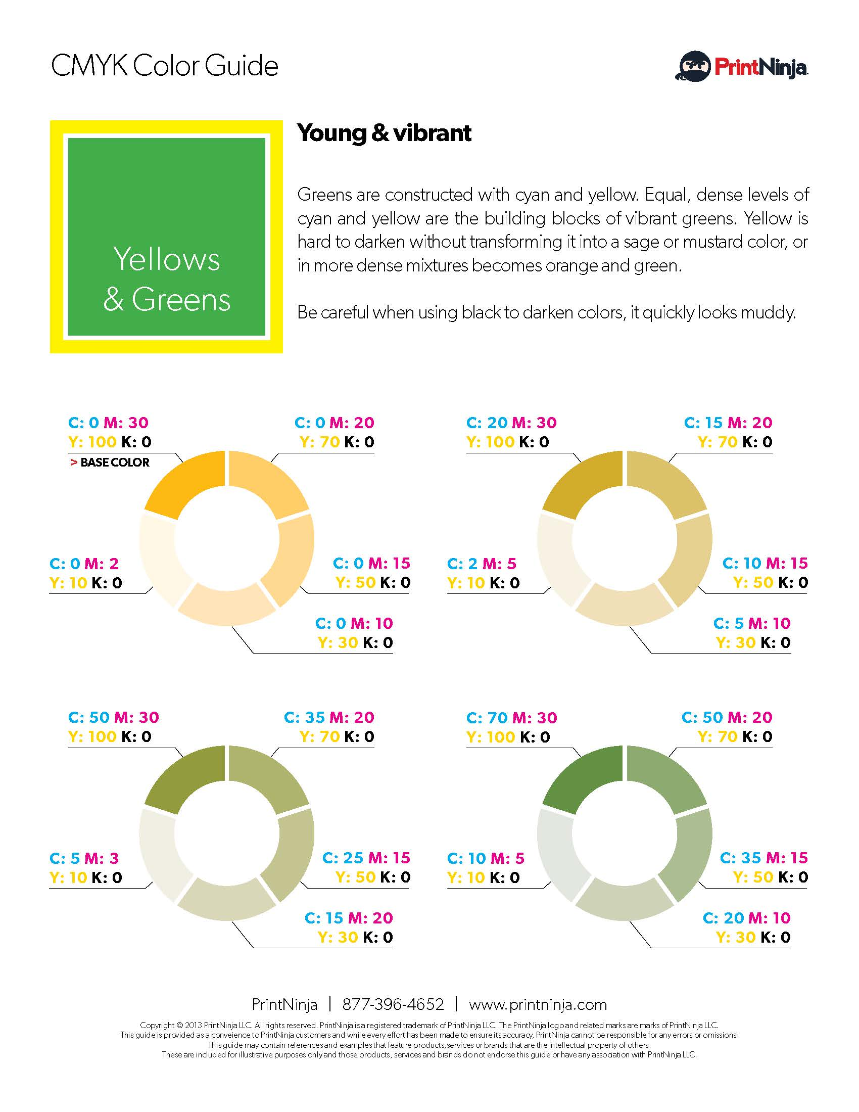 Yellow Green CMYK Suggested Color Ink Values