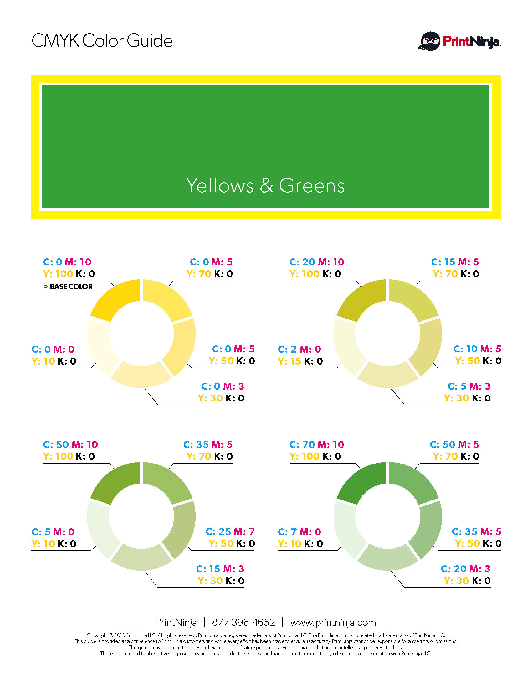 Yellow Green CMYK Suggested Color Ink Values Guide