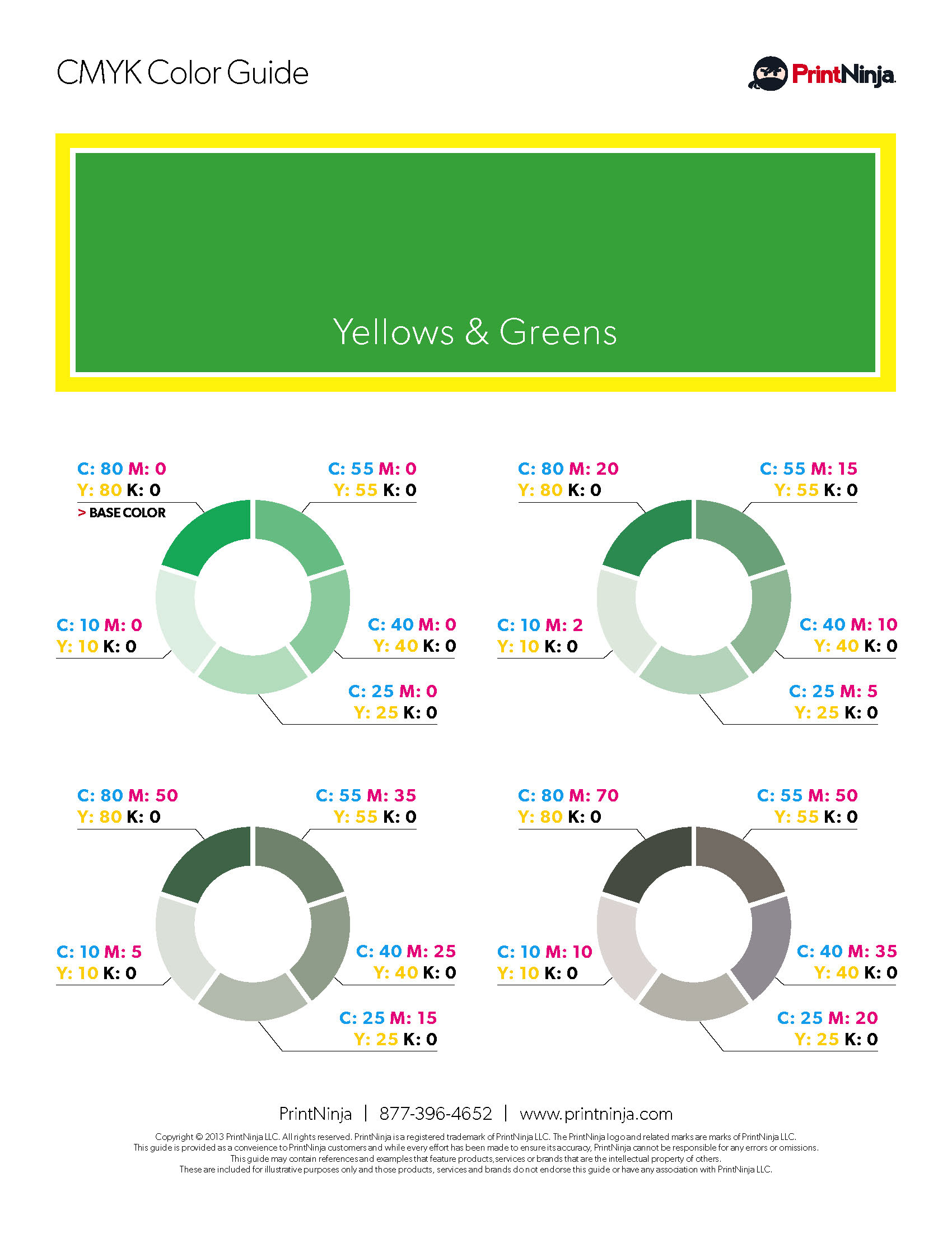 Yellow Green Grey CMYK Suggested Color Ink Values