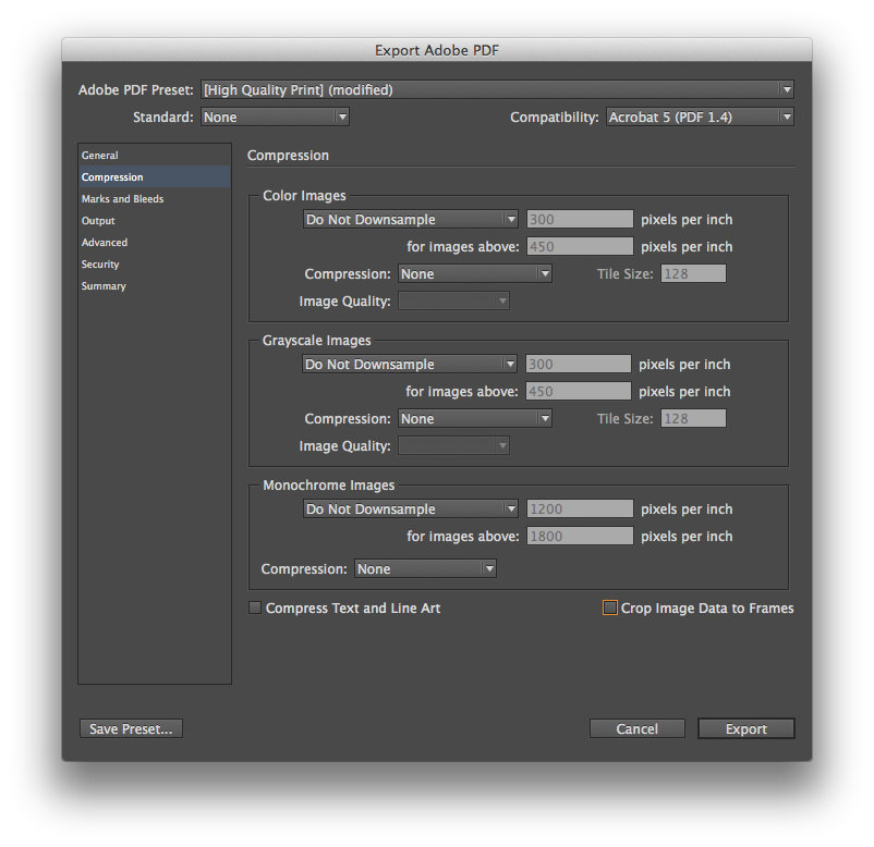 Adobe InDesign Book Print File Setup ppi